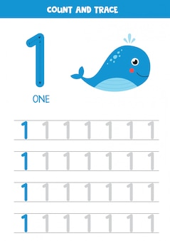 Werkblad voor het leren van getallen met cartoon zee walvis. nummer een.