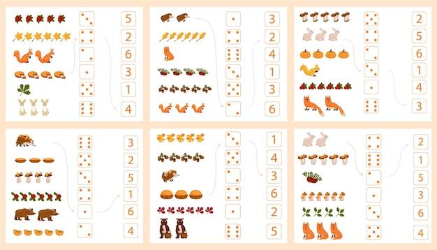 Werkblad voor het onderwijzen van wiskunde en rekenen over het onderwerp herfst. voor kleuters en kleuters die cijfers bestuderen en tellen. vector illustratie
