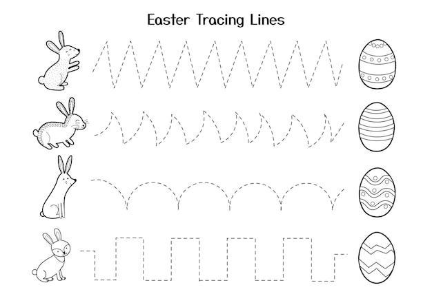 Werkblad voor het overtrekken van paaslijnen voor kinderen activiteitenpagina voor handschriftoefeningen