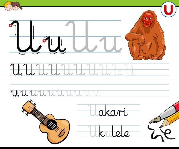 Werkblad voor het schrijven van letter u voor kinderen