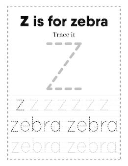 Werkblad voor het traceren van grote alfabetletters voor kleuters en peuters