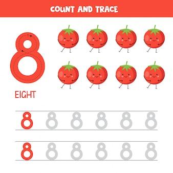 Werkblad voor het traceren van nummers. nummer acht met schattige kawaii rode tomaten.