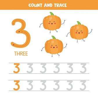 Werkblad voor het traceren van nummers. nummer drie met schattige kawaii pompoenen.