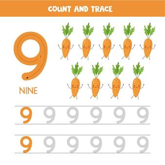 Werkblad voor het traceren van nummers. nummer negen met schattige kawaii worteltjes.