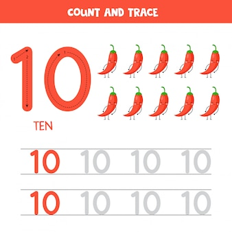 Werkblad voor het traceren van nummers. nummer tien met schattige kawaii rode paprika's.