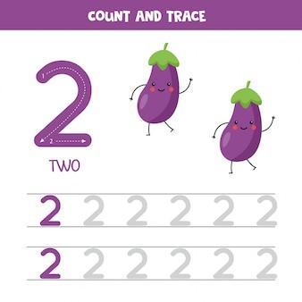 Werkblad voor het traceren van nummers. nummer twee met schattige kawaii aubergines.