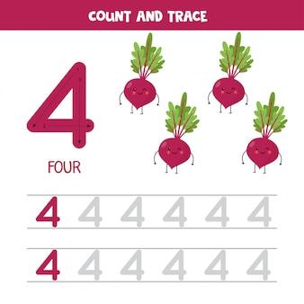 Werkblad voor het traceren van nummers. nummer vier met schattige kawaii bieten.
