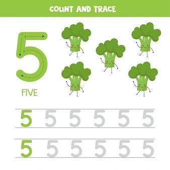 Werkblad voor het traceren van nummers. nummer vijf met schattige kawaii broccoli.