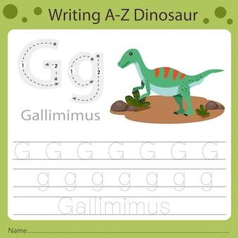 Werkblad voor kinderen, schrijven az dinosaurus g