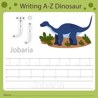 Werkblad voor kinderen, schrijven az dinosaurus j