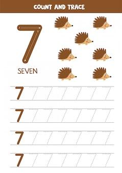 Werkblad voor kinderen. zeven schattige cartoon egels. traceernummer 7.