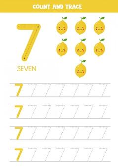 Werkblad voor kinderen. zeven schattige cartoon kawaii citroenen. traceernummer 7.
