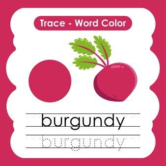 Werkblad voor kleuterschool met kleurwoorden bordeaux