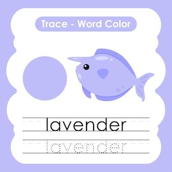 Werkblad voor kleuterschool met kleurwoorden lavendel