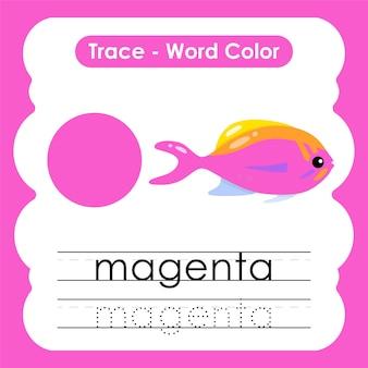 Werkblad voor kleuterschool met kleurwoorden magenta