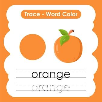 Werkblad voor kleuterschool met kleurwoorden oranje