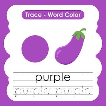 Werkblad voor kleuterschool met kleurwoorden paars