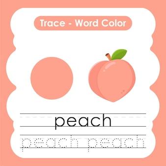 Werkblad voor kleuterschool met kleurwoorden perzik