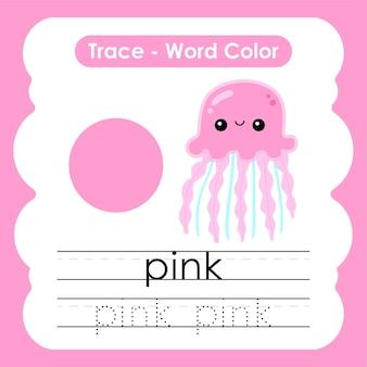 Werkblad voor kleuterschool met kleurwoorden roze