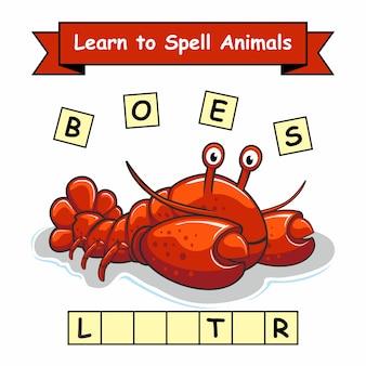 Werkblad voor kreeft leren spellen dieren