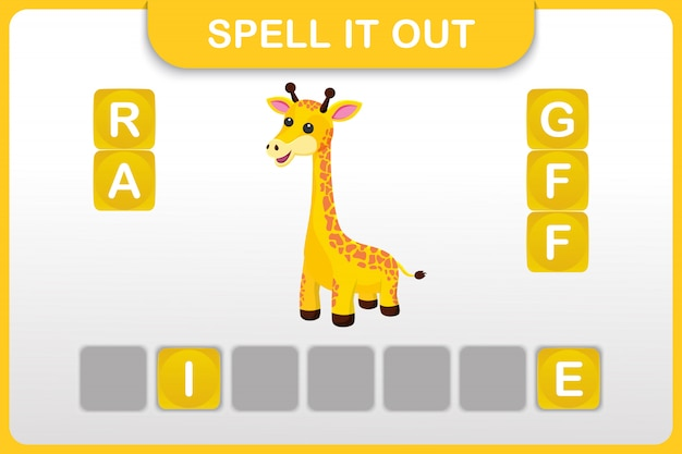 Werkblad voor spelling van woorden en woordenschat: giraffe