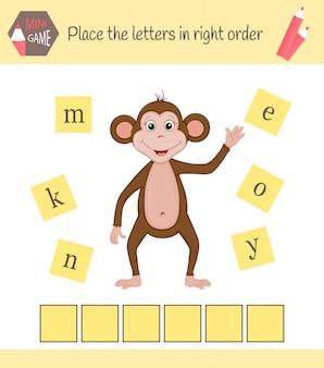 Werkblad voor voorschoolse kinderen woorden puzzel educatief spel voor kinderen. plaats de letters in de juiste volgorde