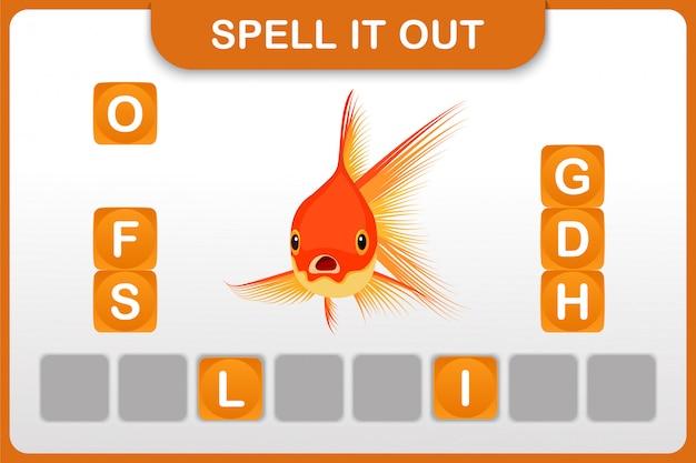 Werkblad voor woord en woordenschat: goudvis
