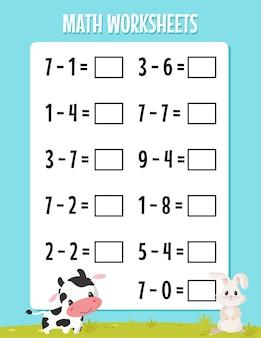 Werkblad wiskunde aftrekken voor de kleuterschool