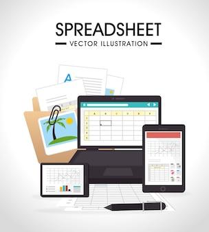 Werkbladontwerp, vectorillustratie.