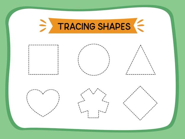 Werkbladpagina voor het traceren van lijnvorm voor het leren van illustratieboekkinderen
