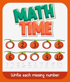 Werkbladsjabloonontwerp voor wiskunde met ontbrekend nummer