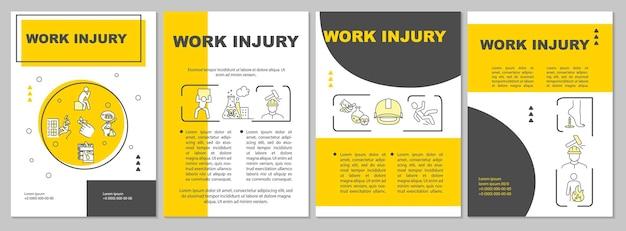 Werkblessures, brochuresjabloon voor industriële trauma's. flyer, boekje, folder afdrukken, omslagontwerp met lineaire pictogrammen. vectorlay-outs voor tijdschriften, jaarverslagen, reclameposters