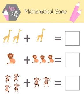 Werkboek over wiskunde voor kleuteronderwijs. puzzels voor kinderen. leer tellen. los voorbeelden op