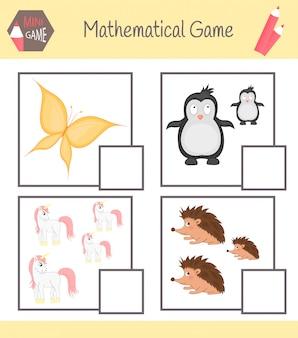 Werkboek over wiskunde voor voorschoolse educatie. puzzels voor kinderen. leer tellen. los voorbeelden op