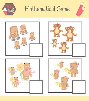 Werkboek wiskunde voor voorschoolse educatie. puzzels voor kinderen. leer tellen. voorbeelden oplossen.