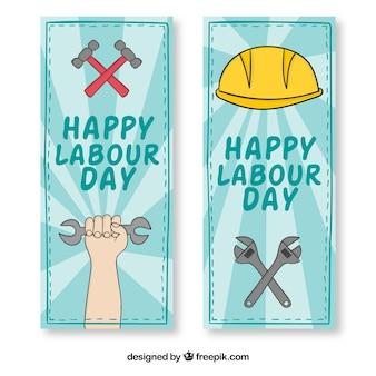 Werkdag hand getrokken banners