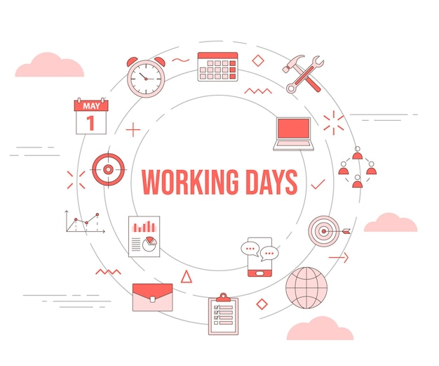 Werkdagen concept met icon set sjabloon banner en cirkel ronde vorm vector