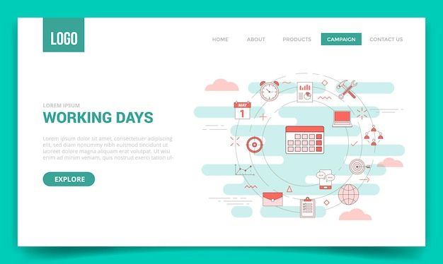 Werkdagenconcept met cirkelpictogram voor websitesjabloon of startpagina-startpaginavector