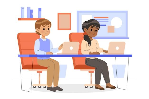 Werkdagscène met mensen op kantoor
