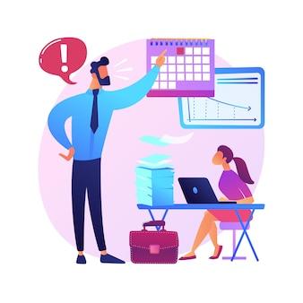 Werkdruk abstract concept illustratie. stressmanagement, overbelasting van het werk, chronische angst, lichamelijke gezondheid, emotionele spanning, druk op deadlines, welzijn van medewerkers.
