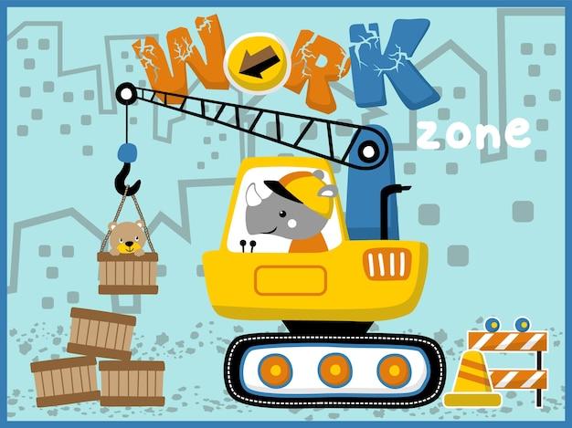 Werken met grappige dieren cartoon op bouwmachines