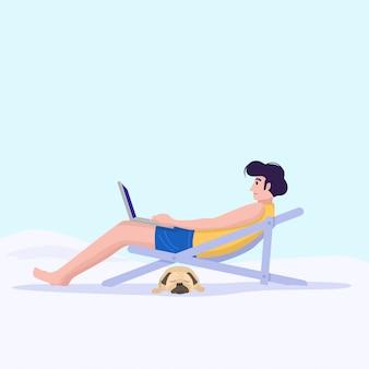 Werken op afstand concept, een man die werkt met de laptop op het strand.
