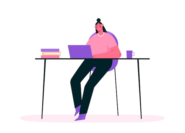 Werken op afstand of online onderwijs in plat ontwerp