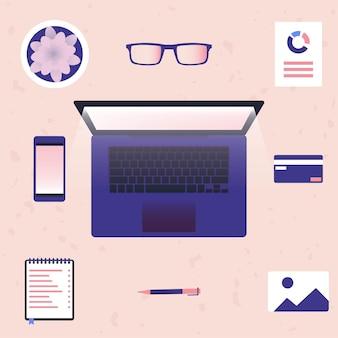 Werken op laptop en vanuit huis illustratie