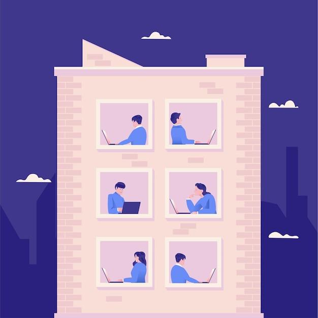 Werken op laptop en vanuit huis in de illustratie van het appartement