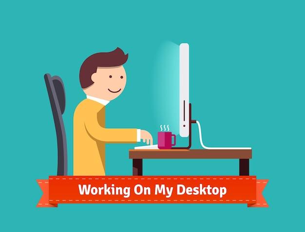 Werken op mijn desktop concept platte illustratie