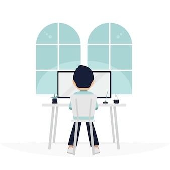 Werken vanuit huis concept illustratie