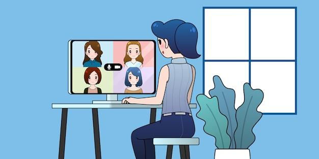 Werken vanuit huis illustratie, vrouwengroep videoconferentie, online communicatieconcept.