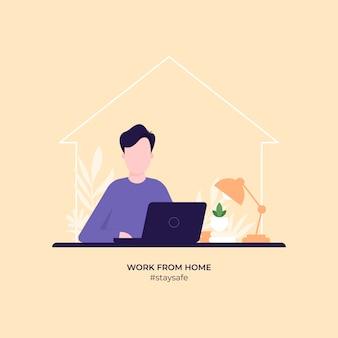 Werken vanuit huis illustratie