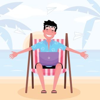 Werkend op het strand zit een gelukkige man op een zonnebank met een computerlaptop met een strandachtergrond